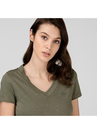 Lacoste Kadın Slim Fit Tişört TF0132.32H Yeşil